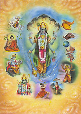 Maha-Wishnus 10 Hauptinkarnationen